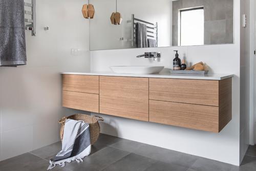 洗面所インテリア-素材の組み合わせ方でガラリと変わる造作洗面実例