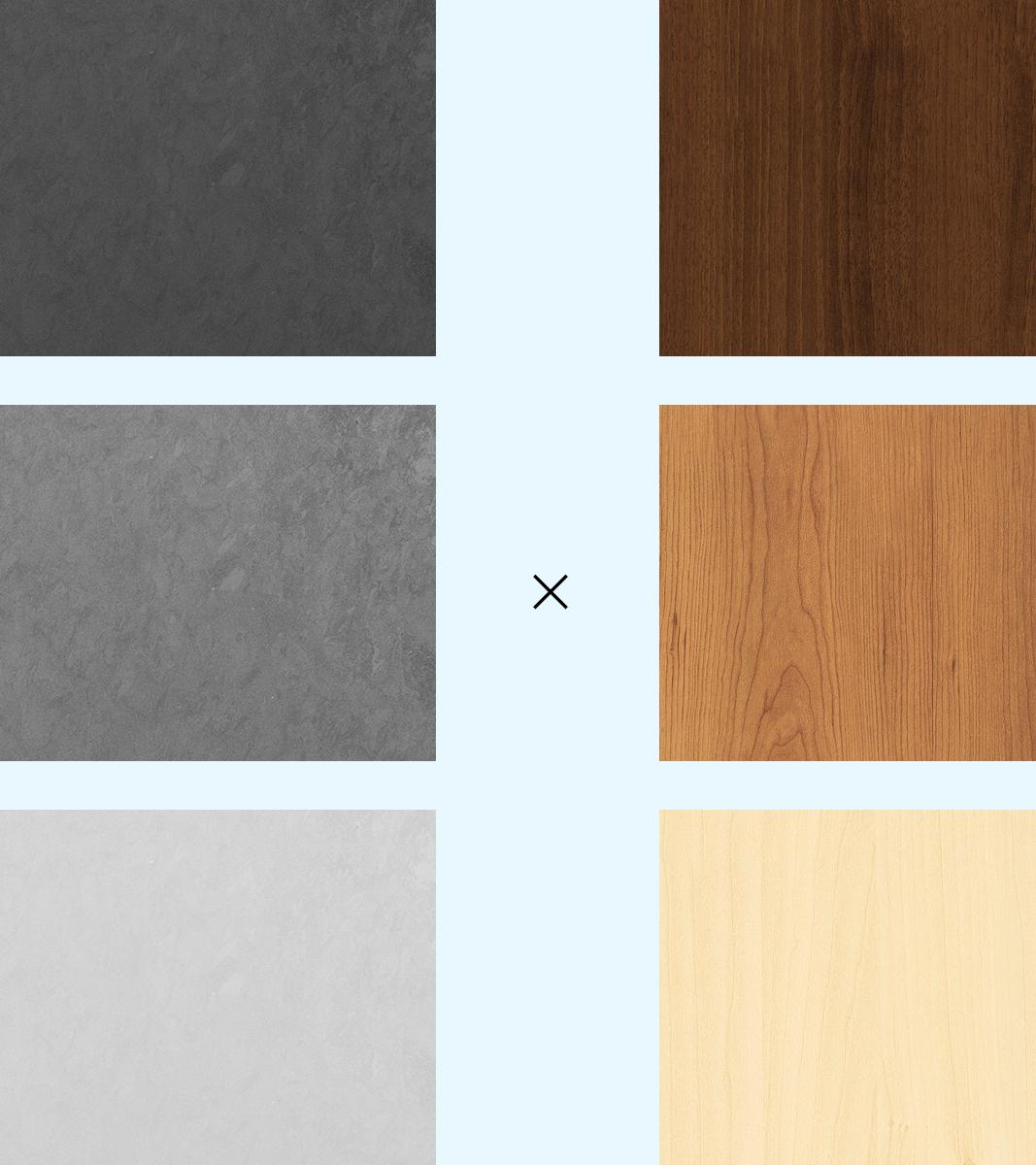 3種類の素材感のあるグレーと3種類の茶色の木目